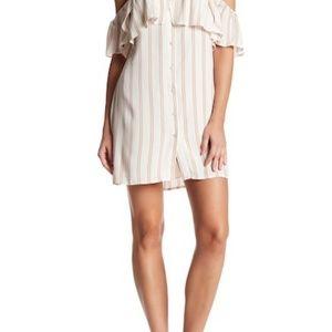 S Striped off shoulder button down dress